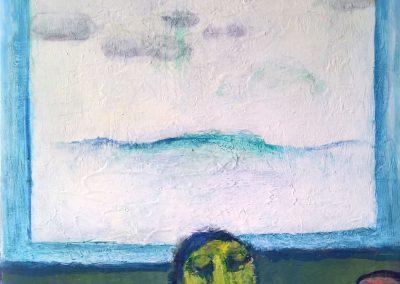 Drei vor dem Fenster, 2018, Akryl, 100 x 61 cm